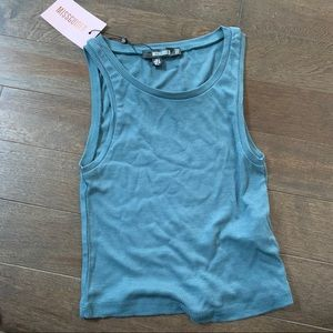 Missguided rib sleeveless crop top green Size 4